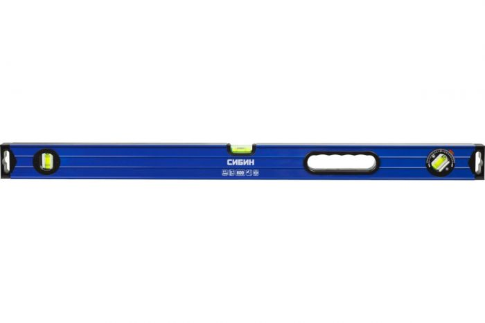уровень строительный сибин коробчатый 800 мм, усиленный профиль,2 фрезированные поверхности,3 противоударных ампулы (1 поворотная на 360 гр),с ручками.